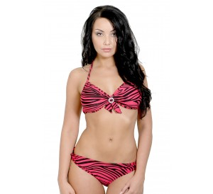 Striped Under wired Bikini Set
