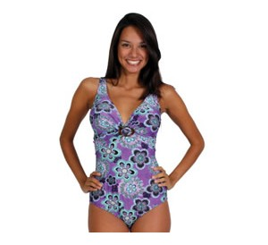 Purple Floral Scoop Back Swimsuit